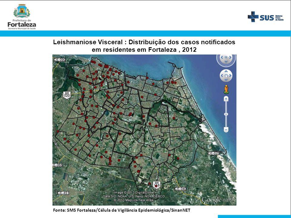 Leishmaniose Visceral : Distribuição dos casos notificados em residentes em Fortaleza, 2012 Fonte: SMS Fortaleza/Célula de Vigilância Epidemiológica/S