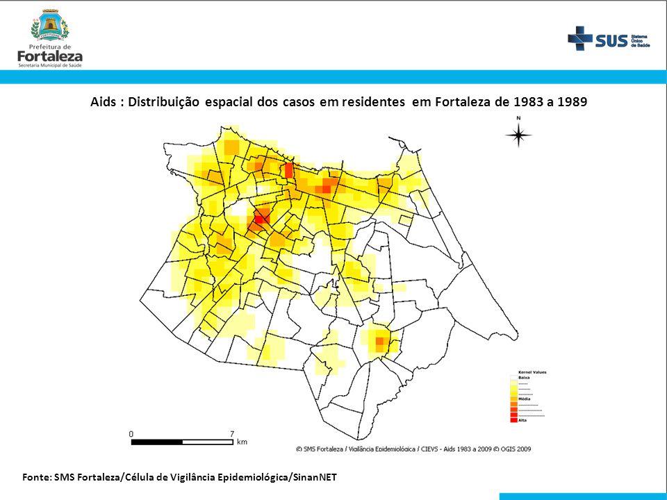 Aids : Distribuição espacial dos casos em residentes em Fortaleza de 1983 a 1989 Fonte: SMS Fortaleza/Célula de Vigilância Epidemiológica/SinanNET