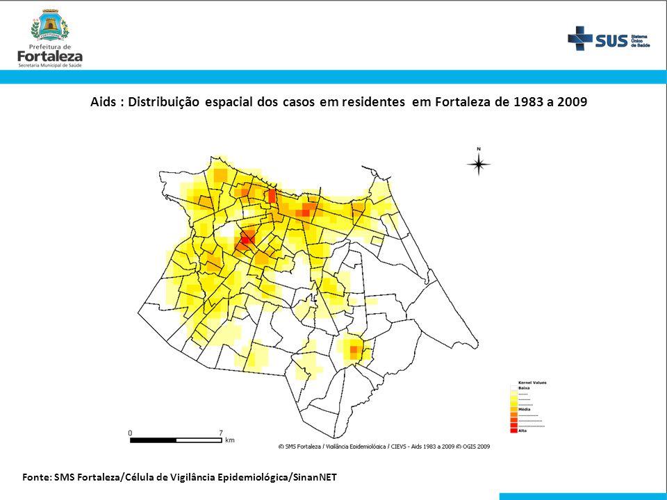 Aids : Distribuição espacial dos casos em residentes em Fortaleza de 1983 a 2009 Fonte: SMS Fortaleza/Célula de Vigilância Epidemiológica/SinanNET