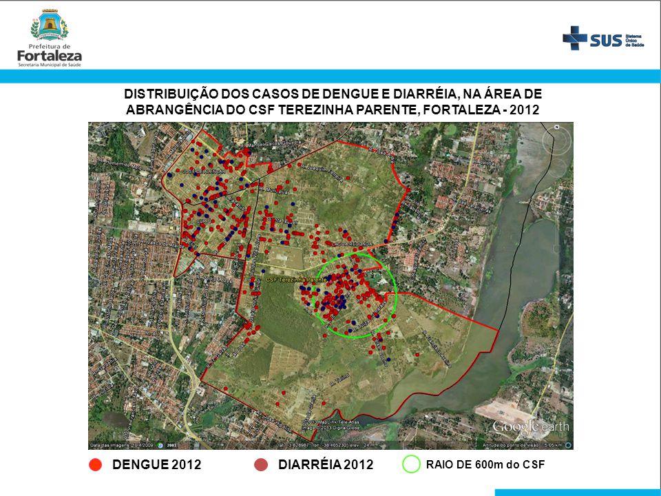 DENGUE 2012DIARRÉIA 2012 DISTRIBUIÇÃO DOS CASOS DE DENGUE E DIARRÉIA, NA ÁREA DE ABRANGÊNCIA DO CSF TEREZINHA PARENTE, FORTALEZA - 2012 RAIO DE 600m d