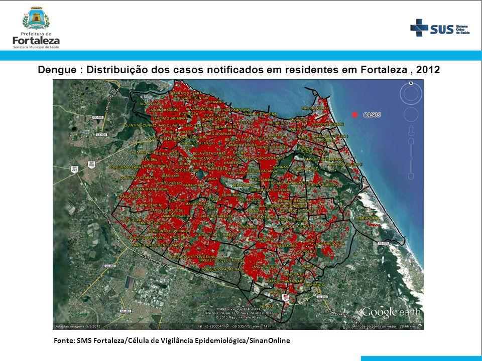 Dengue : Distribuição dos casos notificados em residentes em Fortaleza, 2012 Fonte: SMS Fortaleza/Célula de Vigilância Epidemiológica/SinanOnline
