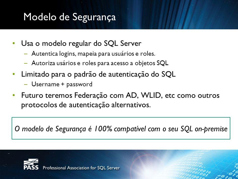 Modelo de Segurança Usa o modelo regular do SQL Server –Autentica logins, mapeia para usuários e roles. –Autoriza usários e roles para acesso a objeto