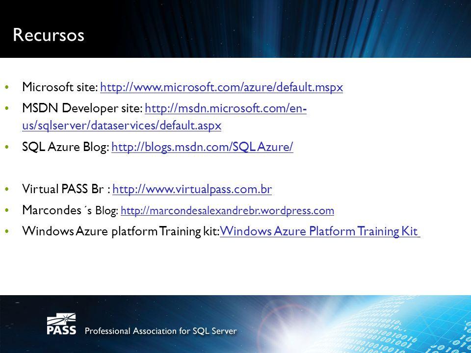 Recursos Microsoft site: http://www.microsoft.com/azure/default.mspx re platform cthttp://www.microsoft.com/azure/default.mspx MSDN Developer site: ht