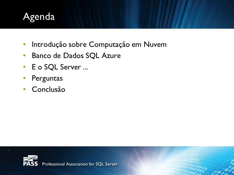 Agenda Introdução sobre Computação em Nuvem Banco de Dados SQL Azure E o SQL Server... Perguntas Conclusão