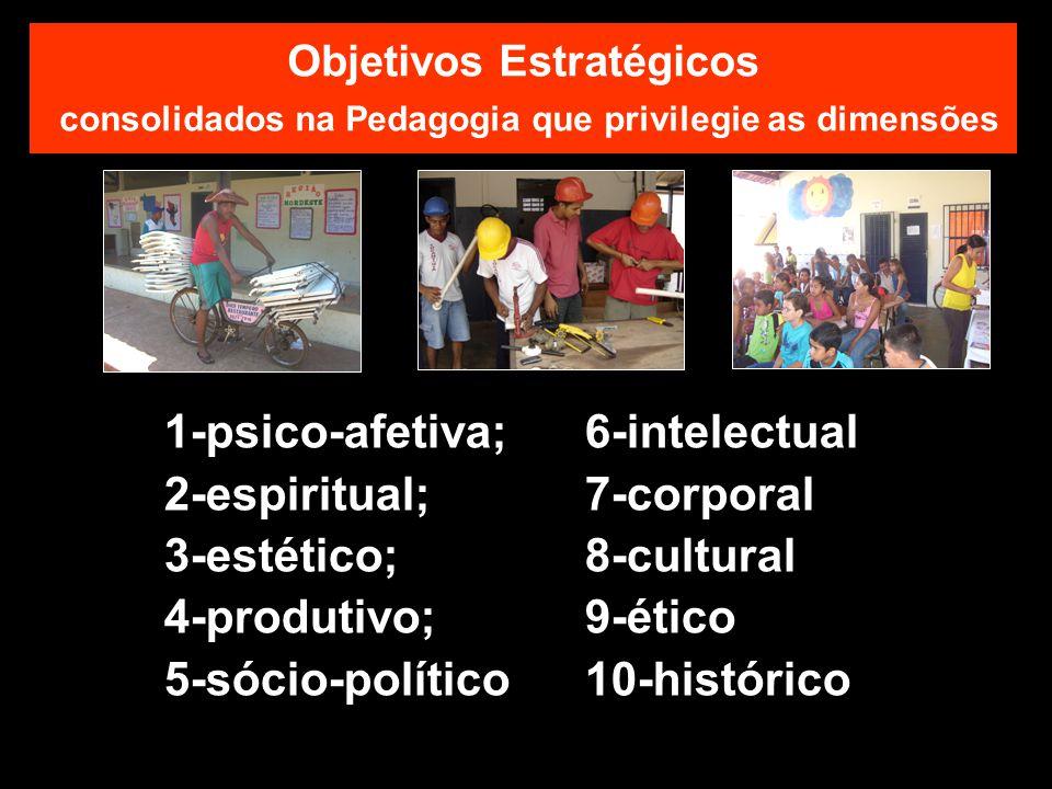 Objetivos Estratégicos consolidados na Pedagogia que privilegie as dimensões 1-psico-afetiva;6-intelectual 2-espiritual;7-corporal 3-estético;8-cultural 4-produtivo;9-ético 5-sócio-político10-histórico