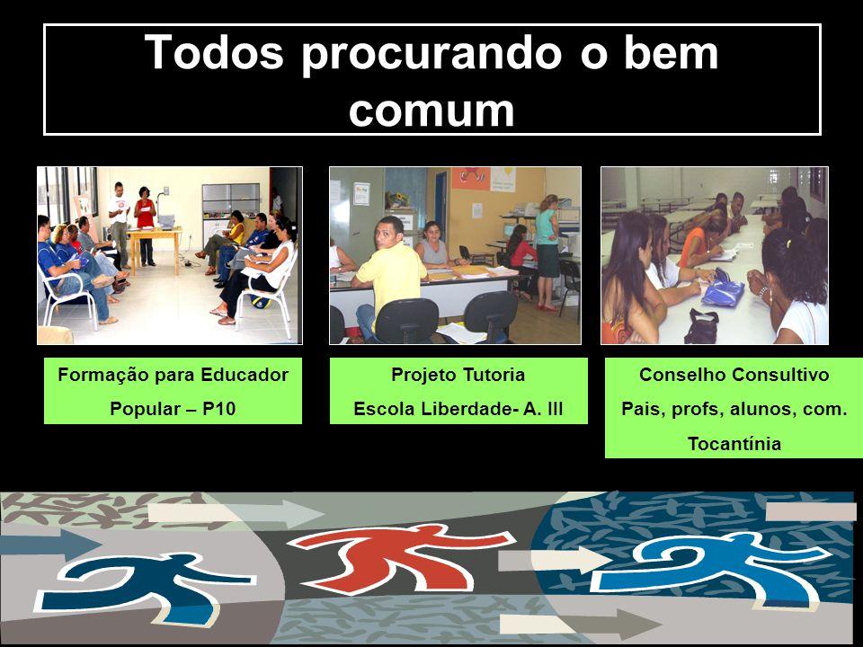 Todos procurando o bem comum Formação para Educador Popular – P10 Projeto Tutoria Escola Liberdade- A. III Conselho Consultivo Pais, profs, alunos, co