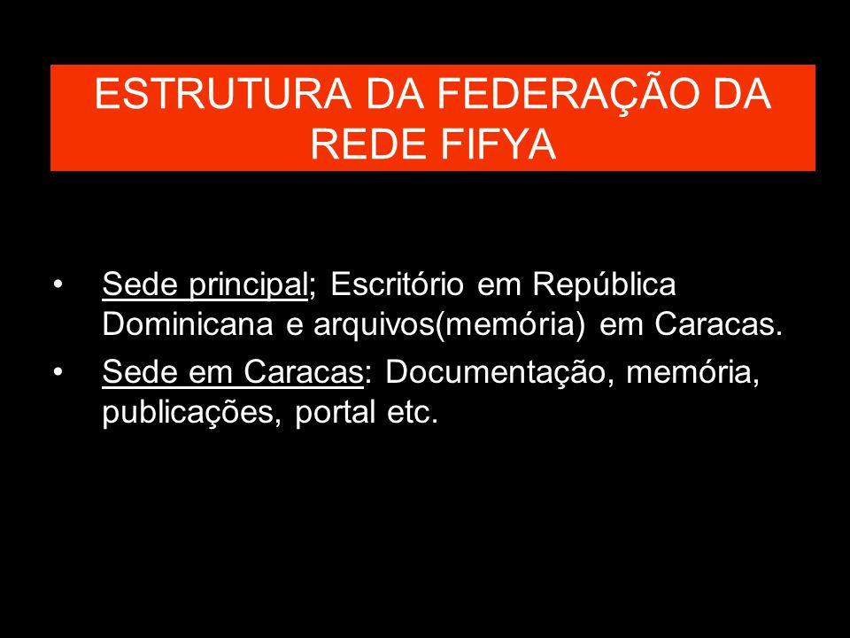 ESTRUTURA DA FEDERAÇÃO DA REDE FIFYA Sede principal; Escritório em República Dominicana e arquivos(memória) em Caracas. Sede em Caracas: Documentação,