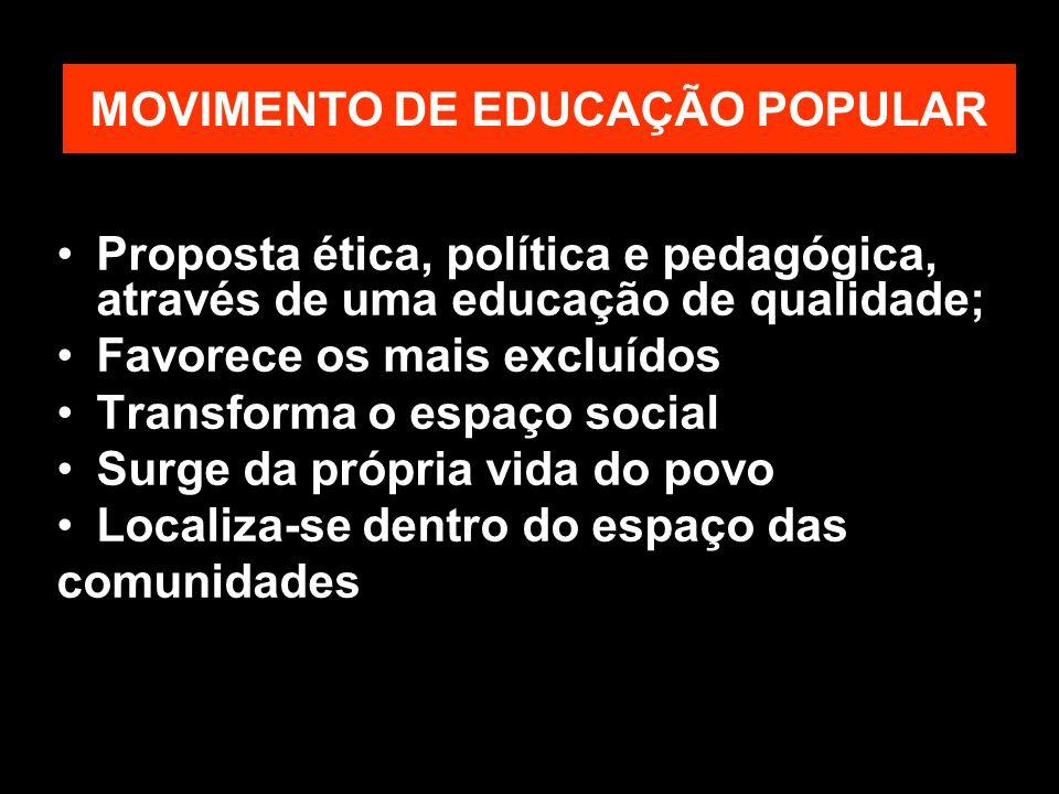 MOVIMENTO DE EDUCAÇÃO POPULAR Proposta ética, política e pedagógica, através de uma educação de qualidade; Favorece os mais excluídos Transforma o espaço social Surge da própria vida do povo Localiza-se dentro do espaço das comunidades