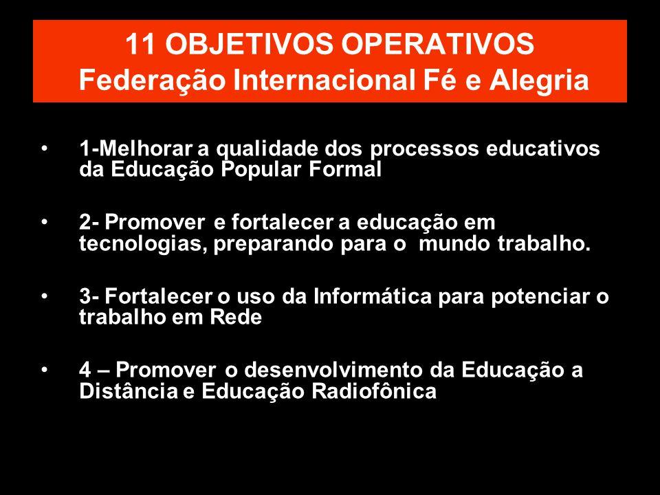 11 OBJETIVOS OPERATIVOS Federação Internacional Fé e Alegria 1-Melhorar a qualidade dos processos educativos da Educação Popular Formal 2- Promover e fortalecer a educação em tecnologias, preparando para o mundo trabalho.
