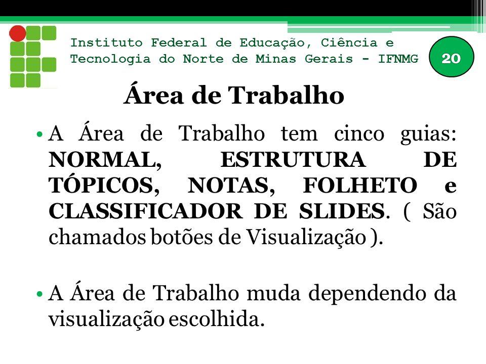 Instituto Federal de Educação, Ciência e Tecnologia do Norte de Minas Gerais - IFNMG Área de Trabalho A Área de Trabalho tem cinco guias: NORMAL, ESTR