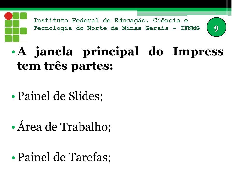 Instituto Federal de Educação, Ciência e Tecnologia do Norte de Minas Gerais - IFNMG A janela principal do Impress tem três partes: Painel de Slides;