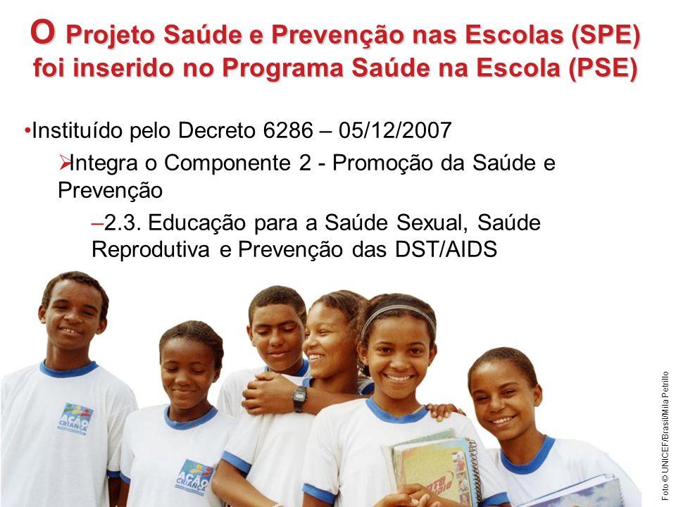 O Projeto Saúde e Prevenção nas Escolas (SPE) foi inserido no Programa Saúde na Escola (PSE) Instituído pelo Decreto 6286 – 05/12/2007 Integra o Compo