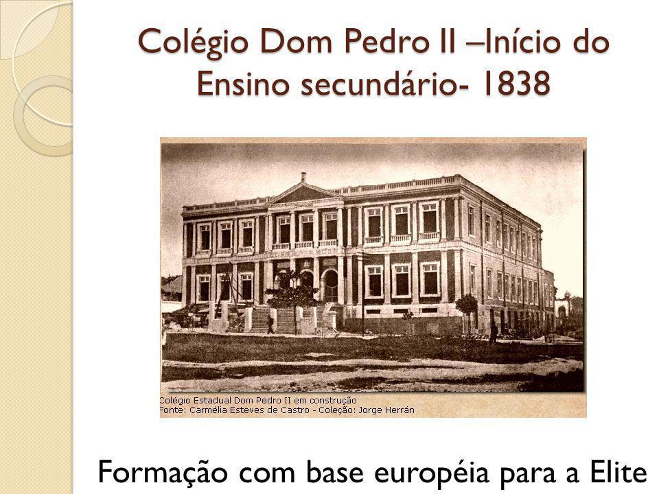 Colégio Dom Pedro II –Início do Ensino secundário- 1838 Formação com base européia para a Elite