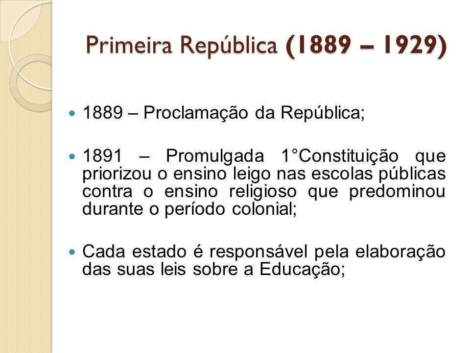 Primeira República (1889 – 1929) 1889 – Proclamação da República; 1891 – Promulgada 1°Constituição que priorizou o ensino leigo nas escolas públicas c