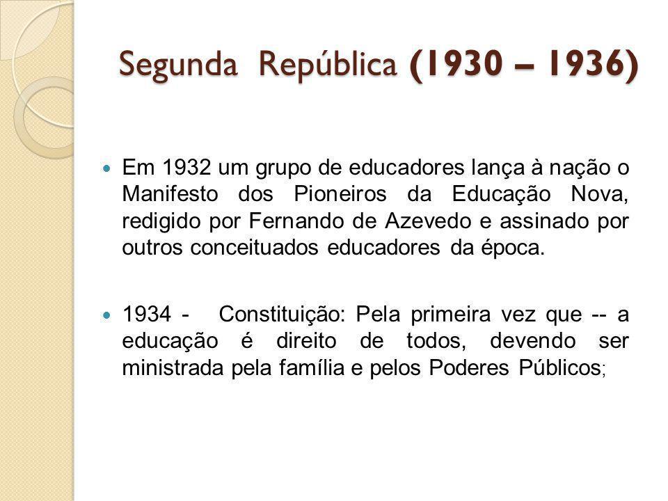 Segunda República (1930 – 1936) Em 1932 um grupo de educadores lança à nação o Manifesto dos Pioneiros da Educação Nova, redigido por Fernando de Azev
