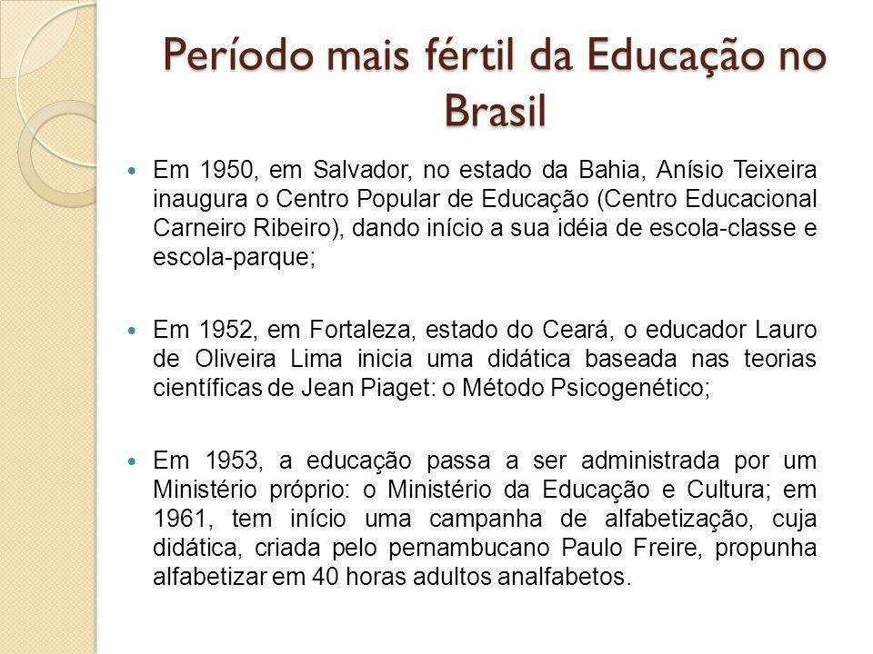 Período mais fértil da Educação no Brasil Em 1950, em Salvador, no estado da Bahia, Anísio Teixeira inaugura o Centro Popular de Educação (Centro Educ