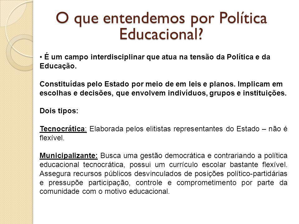 O que entendemos por Política Educacional? É um campo interdisciplinar que atua na tensão da Política e da Educação. Constituídas pelo Estado por meio