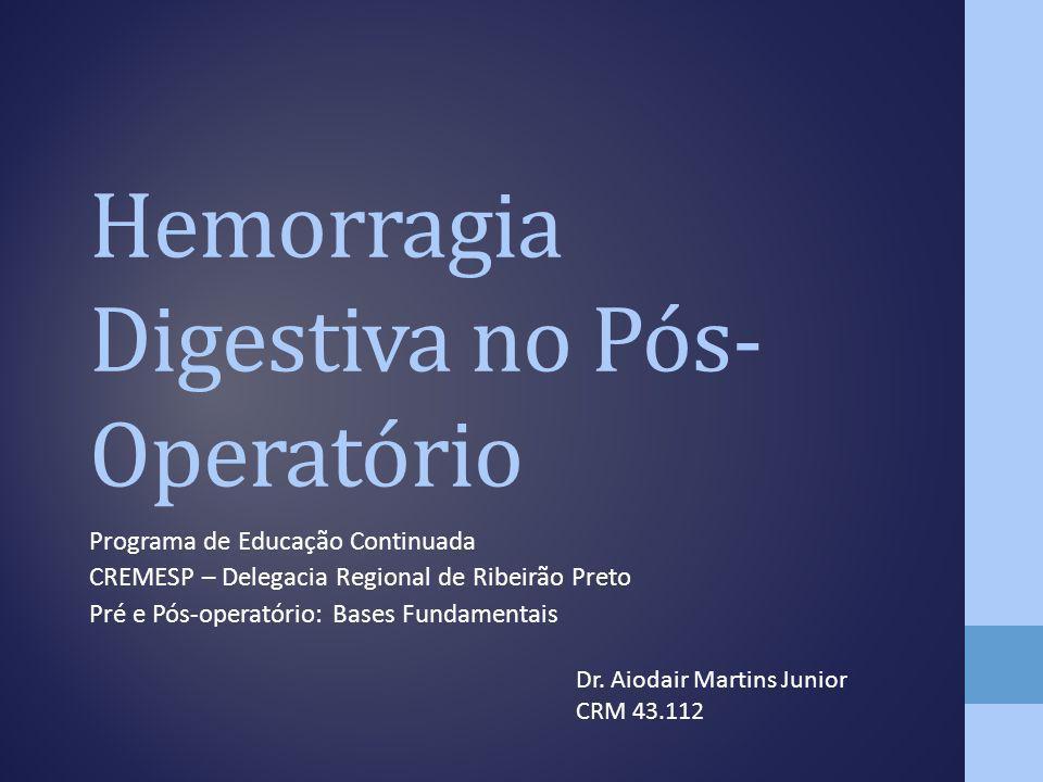 Hemorragia Digestiva no Pós- Operatório Programa de Educação Continuada CREMESP – Delegacia Regional de Ribeirão Preto Pré e Pós-operatório: Bases Fun