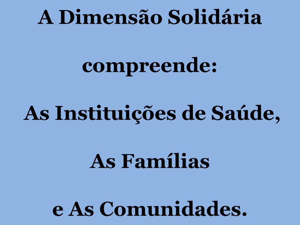A Dimensão Solidária compreende: As Instituições de Saúde, As Famílias e As Comunidades.