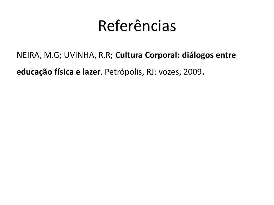 Referências NEIRA, M.G; UVINHA, R.R; Cultura Corporal: diálogos entre educação física e lazer.