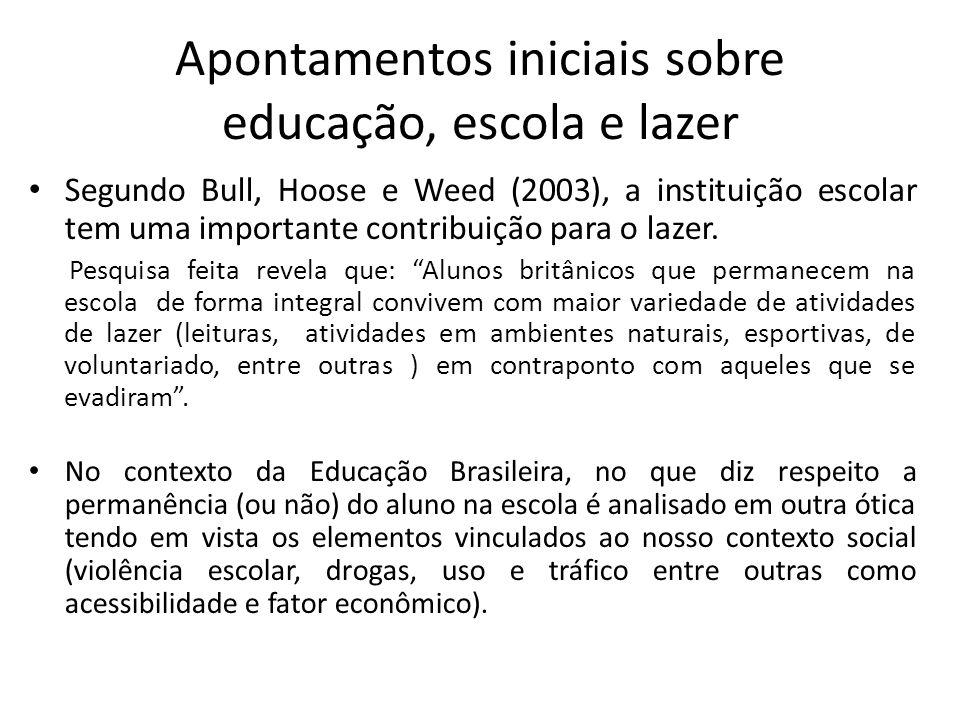 Apontamentos iniciais sobre educação, escola e lazer Segundo Bull, Hoose e Weed (2003), a instituição escolar tem uma importante contribuição para o lazer.