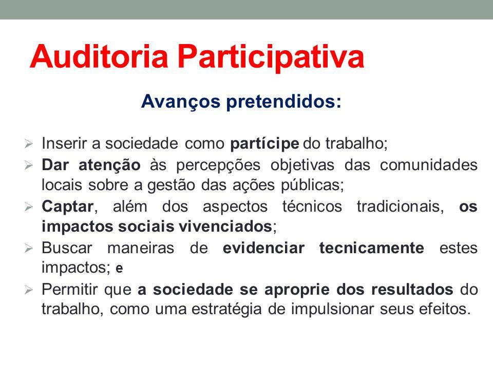 Auditoria Participativa Avanços pretendidos: Inserir a sociedade como partícipe do trabalho; Dar atenção às percepções objetivas das comunidades locai