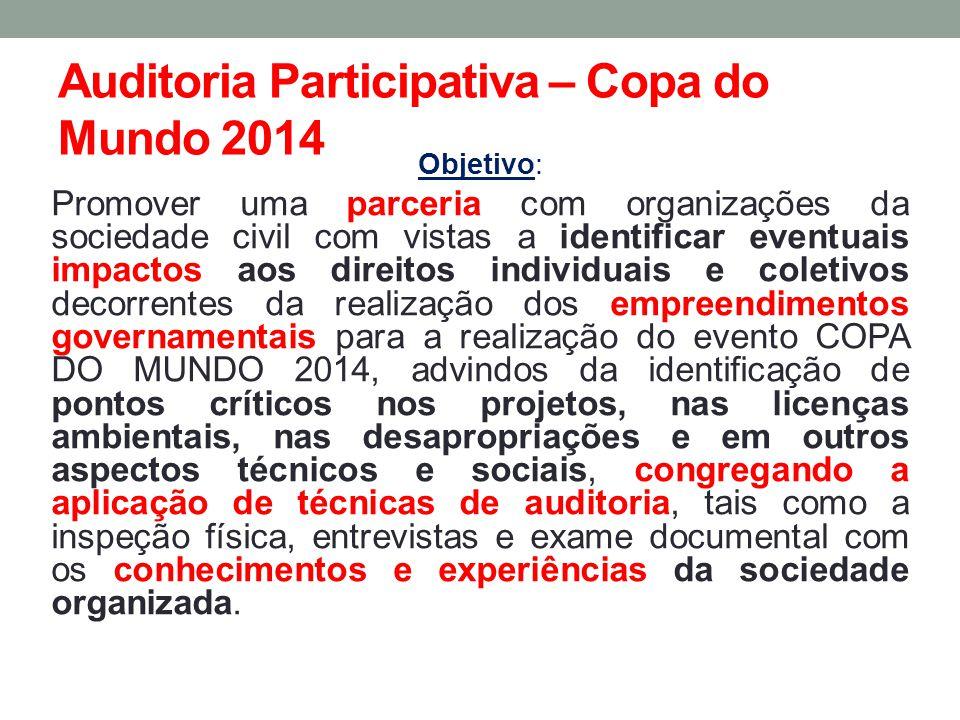 Auditoria Participativa – Copa do Mundo 2014 Objetivo: Promover uma parceria com organizações da sociedade civil com vistas a identificar eventuais im