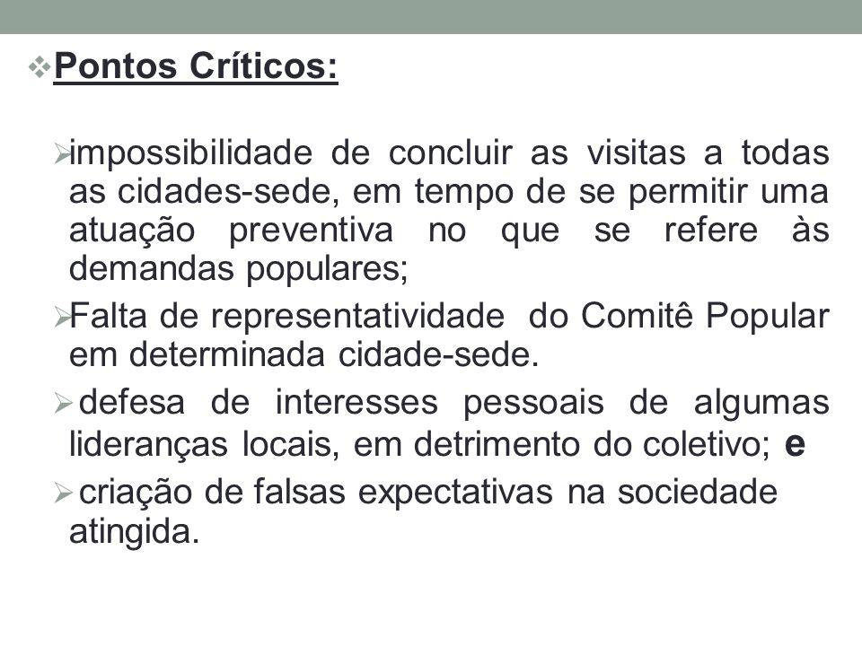 Pontos Críticos: impossibilidade de concluir as visitas a todas as cidades-sede, em tempo de se permitir uma atuação preventiva no que se refere às de