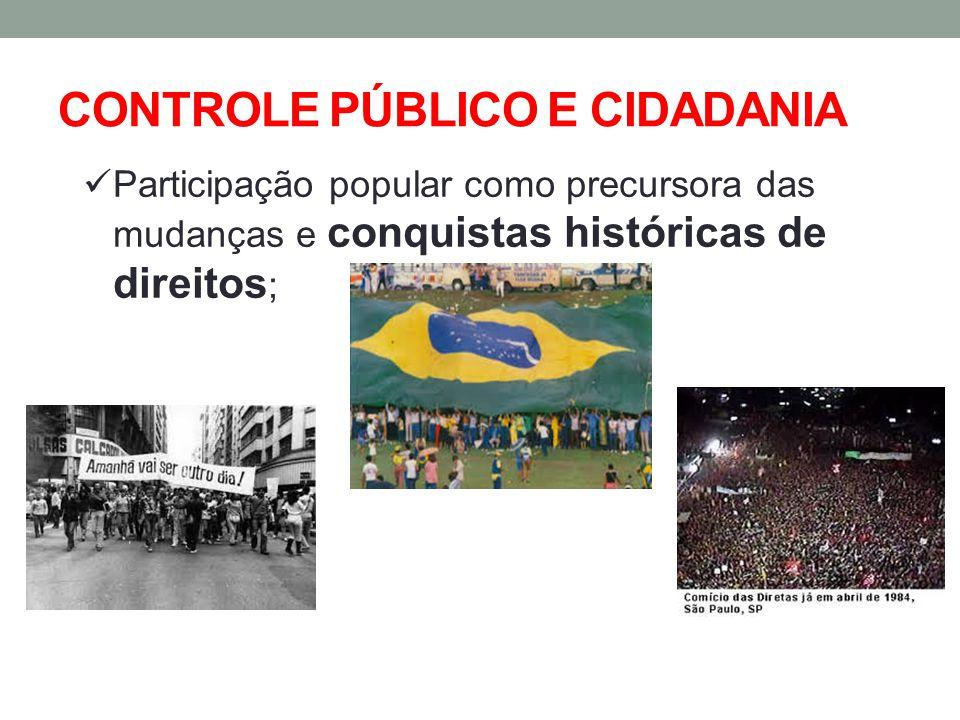 CONTROLE PÚBLICO E CIDADANIA Participação popular como precursora das mudanças e conquistas históricas de direitos ;