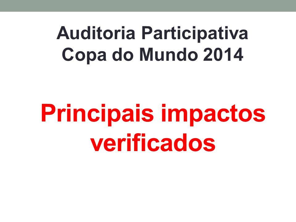 Principais impactos verificados Auditoria Participativa Copa do Mundo 2014