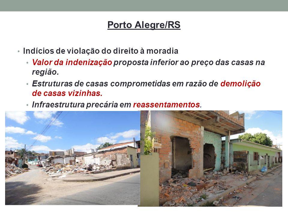 Porto Alegre/RS Indícios de violação do direito à moradia Valor da indenização proposta inferior ao preço das casas na região. Estruturas de casas com