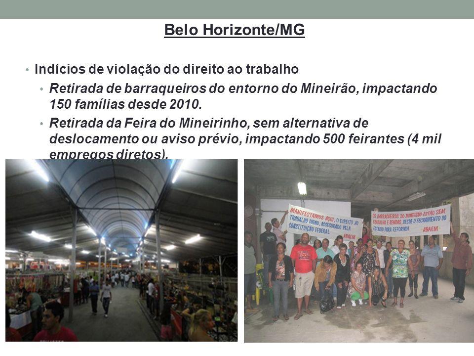 Belo Horizonte/MG Indícios de violação do direito ao trabalho Retirada de barraqueiros do entorno do Mineirão, impactando 150 famílias desde 2010. Ret