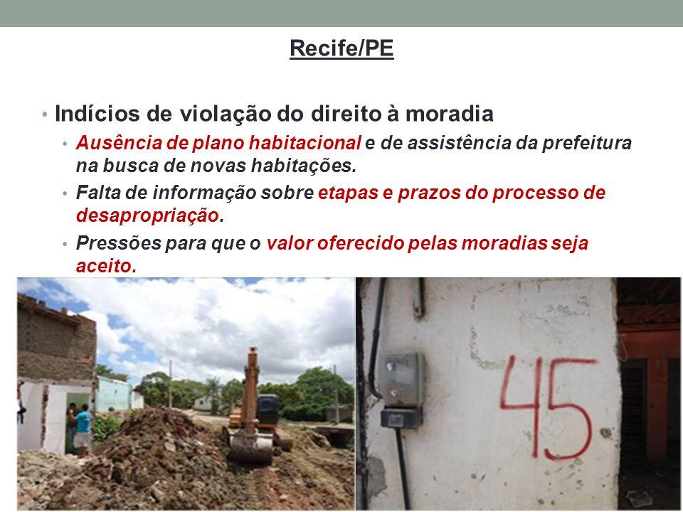 Recife/PE Indícios de violação do direito à moradia Ausência de plano habitacional e de assistência da prefeitura na busca de novas habitações. Falta