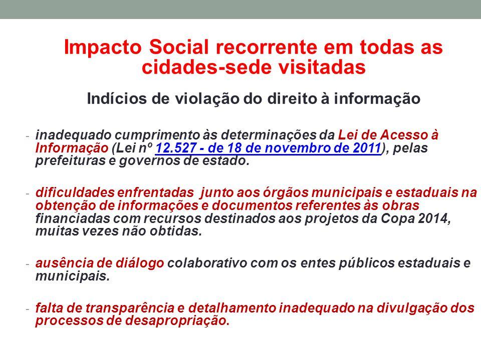 Impacto Social recorrente em todas as cidades-sede visitadas Indícios de violação do direito à informação - inadequado cumprimento às determinações da