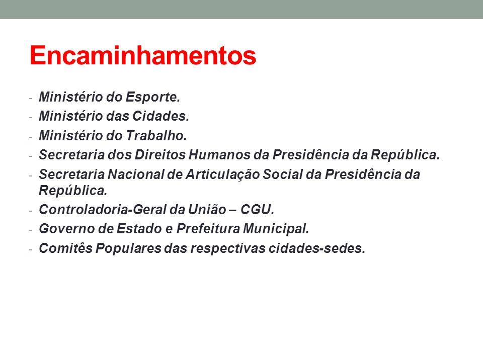 Encaminhamentos - Ministério do Esporte. - Ministério das Cidades. - Ministério do Trabalho. - Secretaria dos Direitos Humanos da Presidência da Repúb