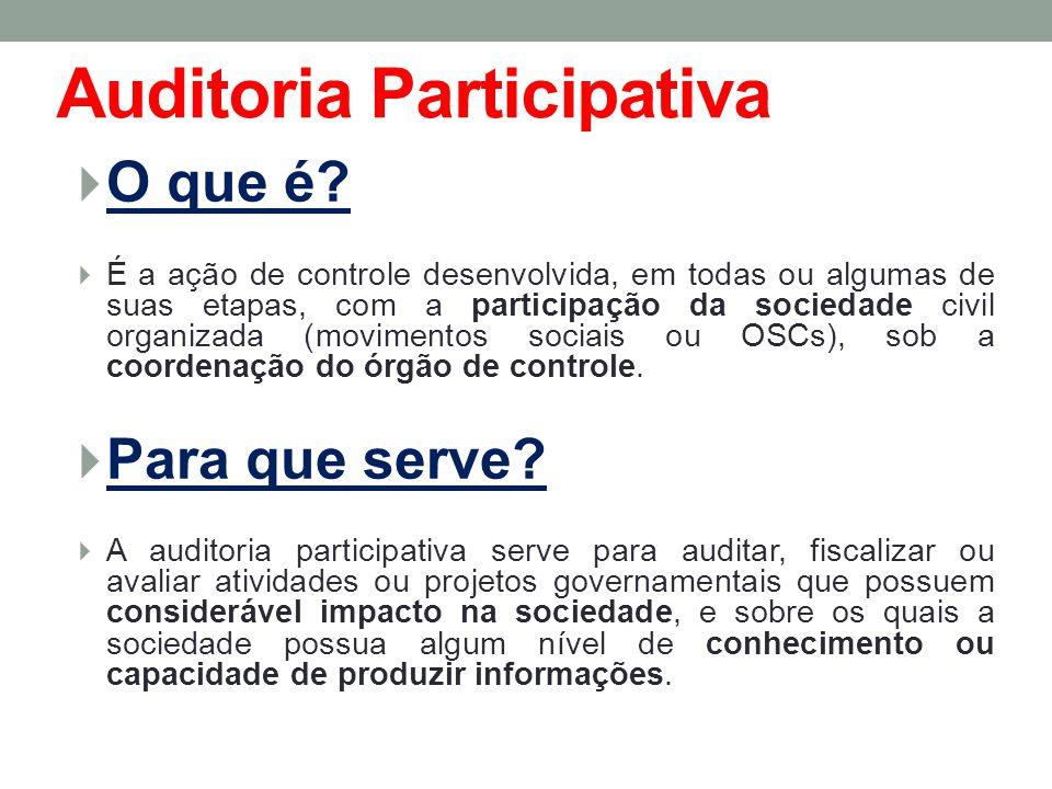Auditoria Participativa O que é? É a ação de controle desenvolvida, em todas ou algumas de suas etapas, com a participação da sociedade civil organiza