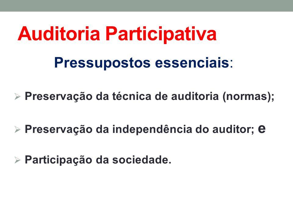 Auditoria Participativa Pressupostos essenciais: Preservação da técnica de auditoria (normas); Preservação da independência do auditor; e Participação