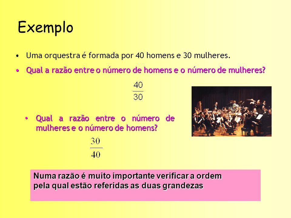 Exemplo Uma orquestra é formada por 40 homens e 30 mulheres.