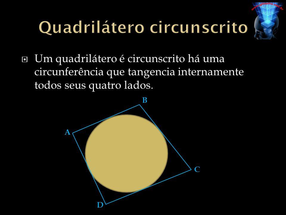 Um quadrilátero é circunscrito há uma circunferência que tangencia internamente todos seus quatro lados. A B C D
