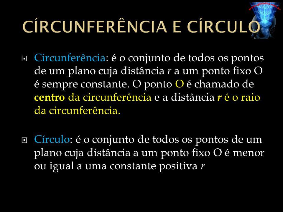 Circunferência: é o conjunto de todos os pontos de um plano cuja distância r a um ponto fixo O é sempre constante. O ponto O é chamado de centro da ci