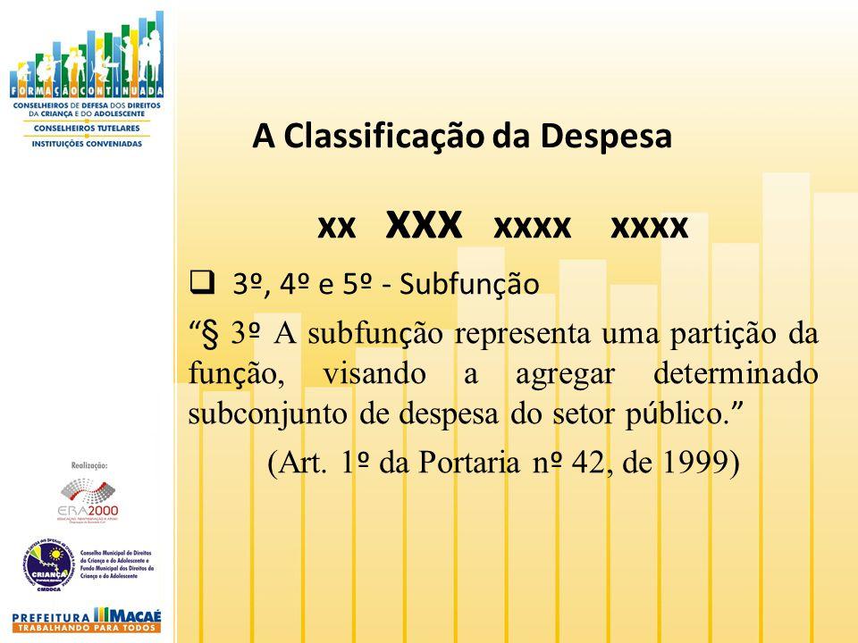A Classificação da Despesa xx xxx xxxx xxxx 3º, 4º e 5º - Subfunção § 3 º A subfun ç ão representa uma parti ç ão da fun ç ão, visando a agregar deter