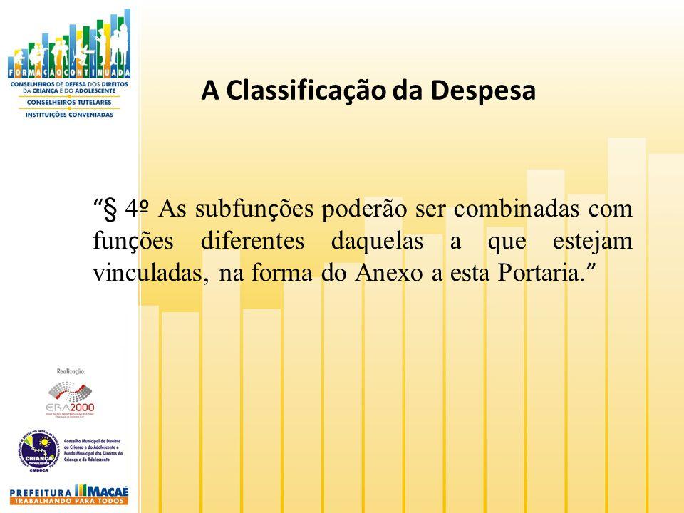 A Classificação da Despesa § 4 º As subfun ç ões poderão ser combinadas com fun ç ões diferentes daquelas a que estejam vinculadas, na forma do Anexo