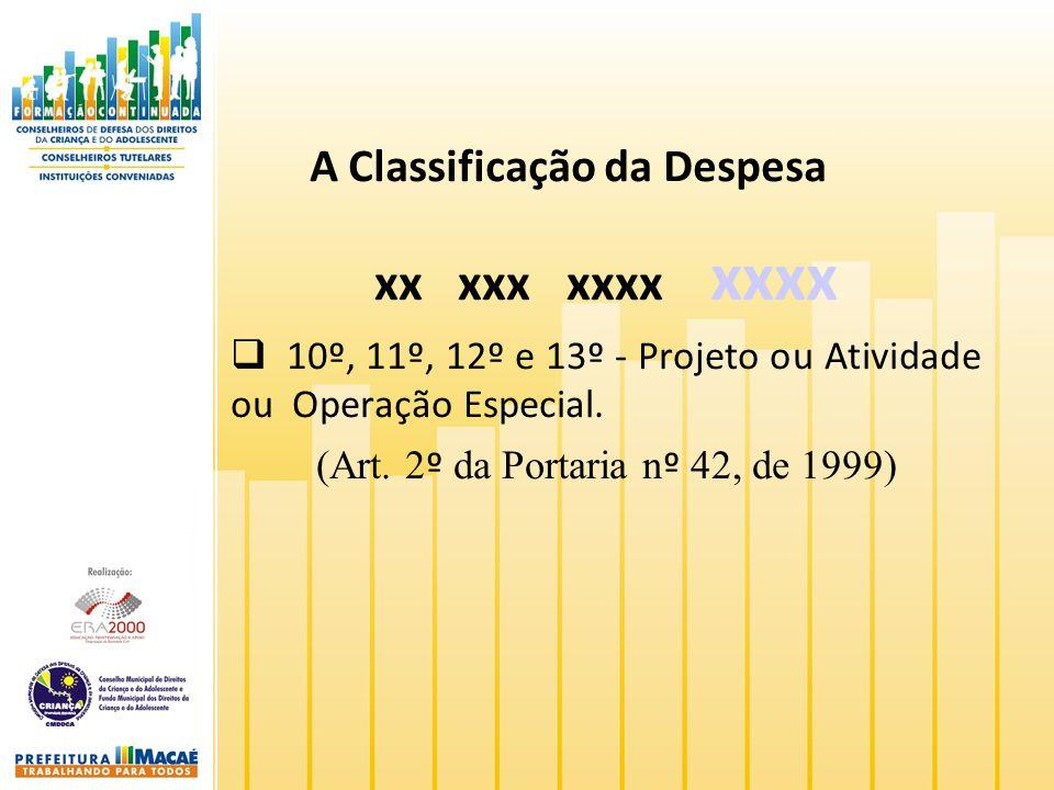 A Classificação da Despesa xx xxx xxxx xxxx 10º, 11º, 12º e 13º - Projeto ou Atividade ou Operação Especial. (Art. 2 º da Portaria n º 42, de 1999)