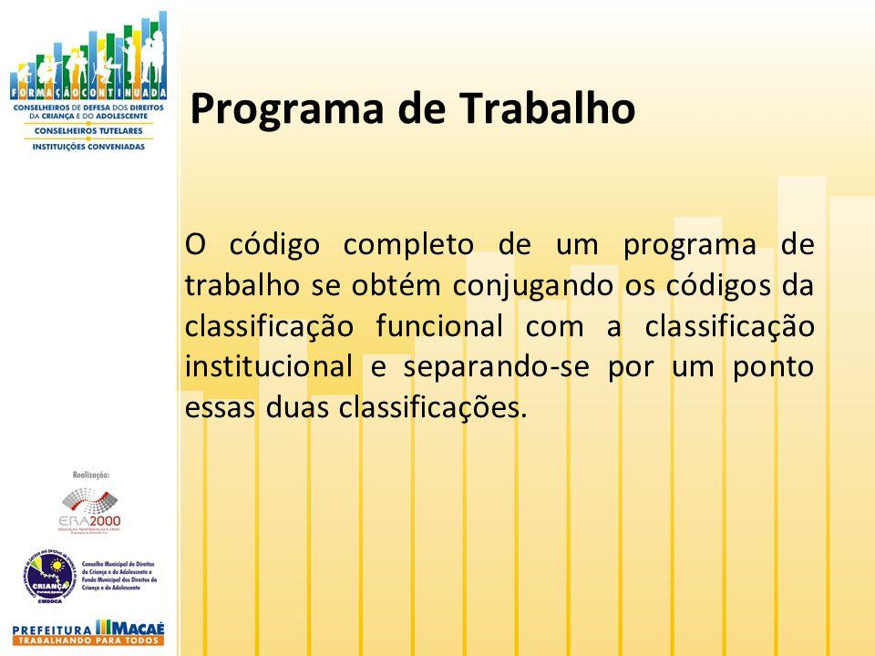 Programa de Trabalho O código completo de um programa de trabalho se obtém conjugando os códigos da classificação funcional com a classificação instit