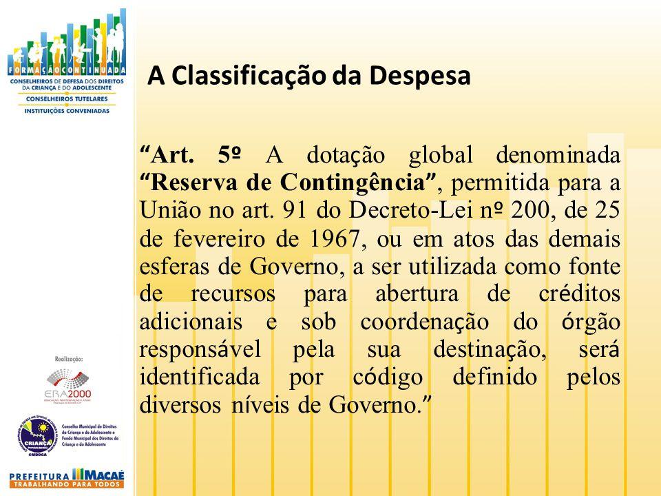 A Classificação da Despesa Art. 5 º A dota ç ão global denominada Reserva de Contingência, permitida para a União no art. 91 do Decreto-Lei n º 200, d