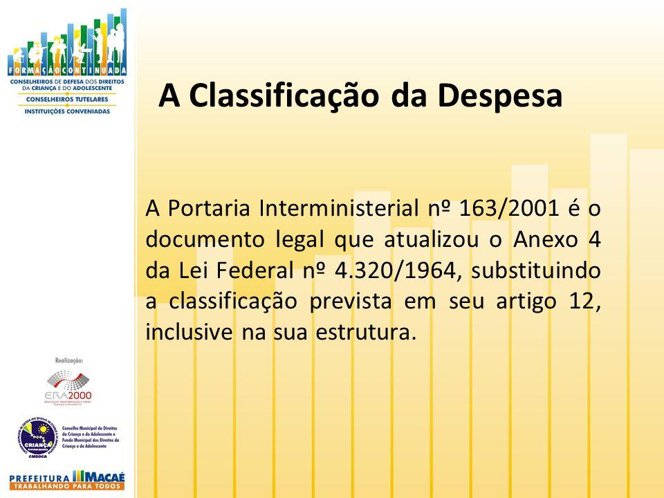A Classificação da Despesa A Portaria Interministerial nº 163/2001 é o documento legal que atualizou o Anexo 4 da Lei Federal nº 4.320/1964, substitui