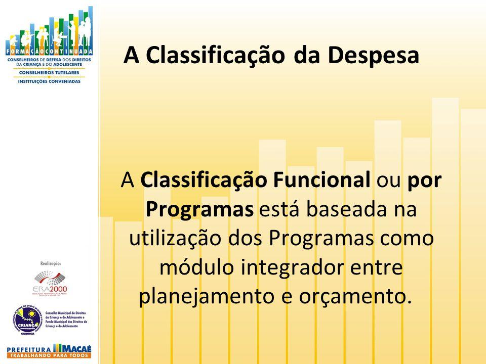 A Classificação da Despesa A Classificação Funcional ou por Programas está baseada na utilização dos Programas como módulo integrador entre planejamen
