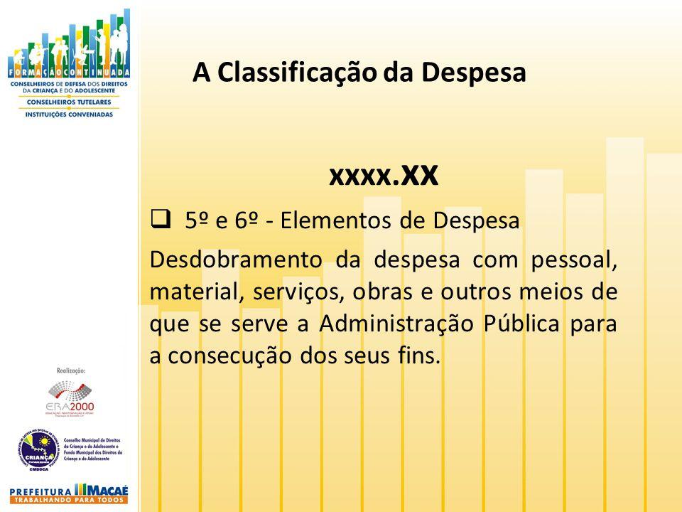 A Classificação da Despesa xxxx. xx 5º e 6º - Elementos de Despesa Desdobramento da despesa com pessoal, material, serviços, obras e outros meios de q
