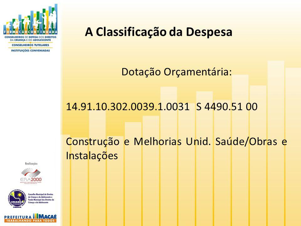 A Classificação da Despesa Dotação Orçamentária: 14.91.10.302.0039.1.0031 S 4490.51 00 Construção e Melhorias Unid. Saúde/Obras e Instalações