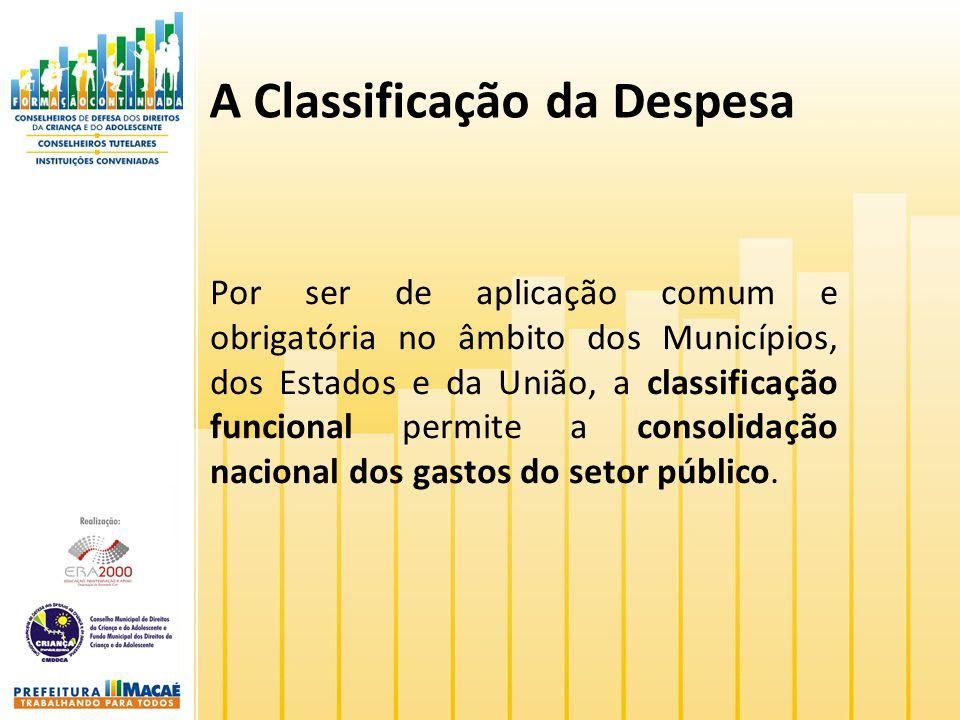 A Classificação da Despesa Por ser de aplicação comum e obrigatória no âmbito dos Municípios, dos Estados e da União, a classificação funcional permit